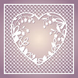 Openwork square card with heart and lilies of the valley. Laser. Cutting template for greeting cards, envelopes, invitations, interior decorative elements Royalty Free Stock Image