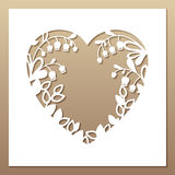 Openwork square card with heart and lilies of the valley. Laser. Cutting template for greeting cards, envelopes, invitations, interior decorative elements Stock Photography