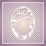 Openwork square card with lilies of the valley. Laser cutting template. Royalty Free Stock Images