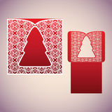 Openwork square envelope with a Christmas tree. Laser Cutting template Stock Photo