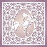 Openwork square frame with easter egg and rooster. Laser cutting template. Stock Photos