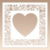 Openwork square frame with flowers and heart inside. Laser cutting template. Openwork square frame with flowers and heart inside. Laser cutting template for stock illustration