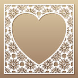 Openwork square frame with heart. Laser cutting template. Openwork square frame with heart. Laser cutting template for greeting cards, envelopes, invitations Stock Image