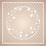 Openwork square frame with round wreath of flowers. Laser cutting template. Royalty Free Stock Photo