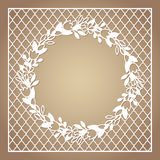 Openwork square frame with wreath of flowers. Laser cutting template. For greeting cards, envelopes, invitations, interior decorative elements Royalty Free Stock Image