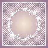 Openwork square frame with wreath of stars.  Royalty Free Stock Images