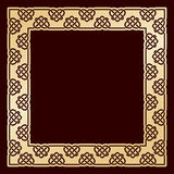 Openwork square golden frame with celtic motif. Royalty Free Stock Image