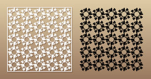 Openwork square panel with floral pattern. Stock Photos