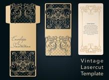 Openwork template for laser cutting. Swirly decorative wedding invitation envelope. vector illustration