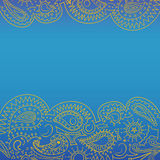 Openwork for text. Square banner blue and yellow vector illustration