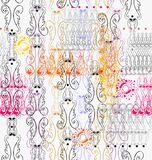Openwork vignettes a seamless pattern. Openwork vignettes in purple, gray, pink, beige, light blue, yellow colors a seamless pattern on a white background Royalty Free Stock Image