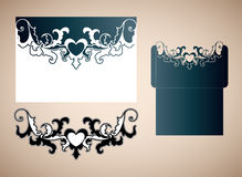 Openwork wedding envelope in the Victorian style. Laser cutting template for wedding envelopes and invitations vector illustration