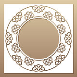 Openwork white frame with celtic motif. Laser cutting template. Royalty Free Stock Photo