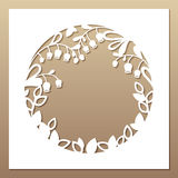 Openwork white frame with leaves and flowers. Royalty Free Stock Photography