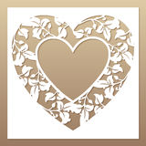 Openwork White Frame With Heart And Leaves. Stock Photo