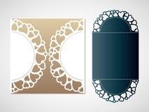 Openwork wzór serca Wektorowy Laserowy tnący szablon Zdjęcia Royalty Free
