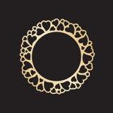 Openwork złota rama z sercami Laserowy tnący wektorowy szablon Fotografia Royalty Free