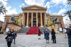 Oper House Teatro-Theater Massimo Vittorio Emanuele Stockfotografie
