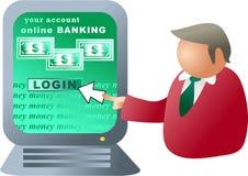 Operação bancária do computador Imagens de Stock