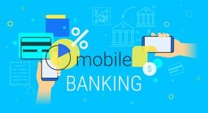 Operação bancária e contabilidade móveis na ilustração criativa do conceito do smartphone ilustração stock