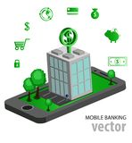 Operação bancária móvel isométrica lisa Fotos de Stock Royalty Free