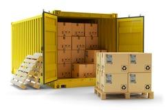 Operação de manipulação da carga, conceito do transporte do frete Imagens de Stock