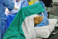 Operação de sofrimento paciente Fotografia de Stock