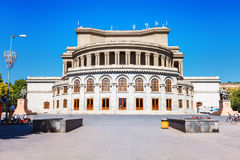 Opera and Balet National Academic Theater in Yerevan, Armenia. Opera and Balet National Academic Theater, monuments of Aram Khachaturian and Alexander Stock Image