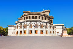 Opera and Balet National Academic Theater in Yerevan, Armenia. Opera and Balet National Academic Theater, monuments of Aram Khachaturian and Alexander Stock Photo