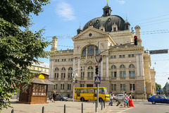 Opera and Ballet Theatre in historic city center. Lviv, Ukraine Royalty Free Stock Photography