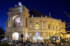 Opera and Ballet Theatre at night in Odessa Ukraine Royalty Free Stock Photography