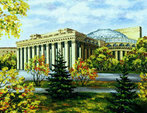 Opera and ballet theatre, Novosibirsk, in autumn. Picture oil paints on a canvas: Opera and ballet theatre, Russia, Novosibirsk, in autumn Royalty Free Stock Photo