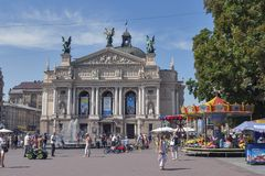 Opera and Ballet Theatre square in Lviv, Ukraine Royalty Free Stock Image