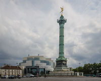 Opera Bastille and July Column in Place de la Bastille in Paris Royalty Free Stock Photos