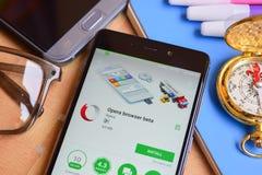 Opera browser beta dev application on Smartphone screen. BEKASI, WEST JAVA, INDONESIA. SEPTEMBER 1, 2018 : Opera browser beta dev application on Smartphone stock photo