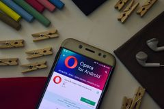 Opera Browser: Fast and Secure App on Smartphone screen. BEKASI, WEST JAVA, INDONESIA. AUGUST 9, 2018 : Opera Browser: Fast and Secure App on Smartphone screen stock photography