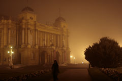 Opera building in fog. Old building in the night fog in the city Stock Photography