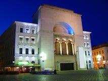 Opera building in Timisoara, Romania. Opera building and Victory square at night, Timisoara, Romania stock image