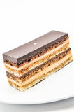 Opera cake. Opera (coffee flavoured cake layered with chocolate ganache Stock Photos