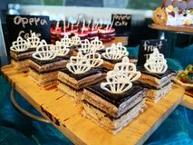 Opera cake. Dessert in buffet line : Opera Cake royalty free stock photo