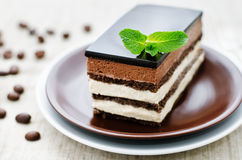 Opera cake. On a light brown background. tinting. selective focus stock image