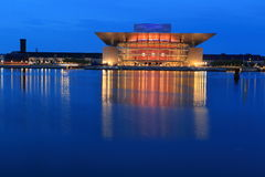 Opera in Copenhagen. The Copenhagen Opera House at sunset in Denmark stock images
