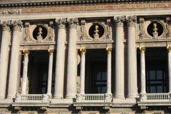 Opera de Paris Garnier. Detail of the facade of the Opera de Paris Garnier with the bust of famous musicians Mozart, Beethoven and Spontini, and columns on the Royalty Free Stock Photos