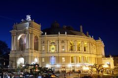 Opera en Ballettheater bij nacht in Odessa Ukraine stock foto