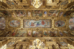 Opera Garnier golden ceiling in Paris France Royalty Free Stock Photos