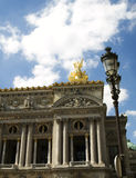 Opera Garnier in Paris. Spectacular part of the Opera facade in Paris Royalty Free Stock Photography