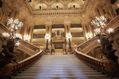 Opera Garnier stairway, interior in Paris Royalty Free Stock Photos