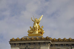 Opera Garnier Top Statues from Paris in France Royalty Free Stock Photography