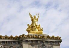 Opera Garnier Top Statues van Parijs in Frankrijk Royalty-vrije Stock Foto