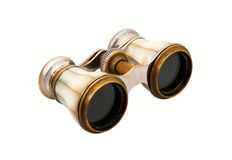 Opera glasses. The old opera glasses, pearl shell on white background Royalty Free Stock Photos